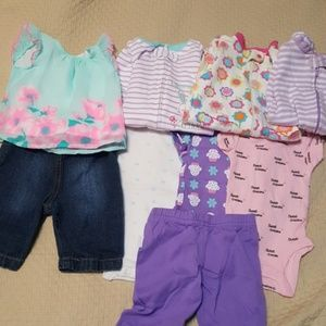 Lot of 9 0-3m baby girl clothes